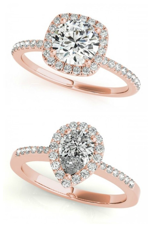 Rose gold diamond engagement rings Halo princes wedding