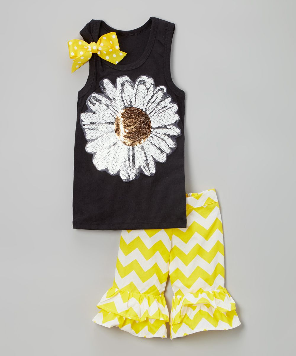 Black Daisy Tank & Ruffle Shorts - Infant Toddler & Girls