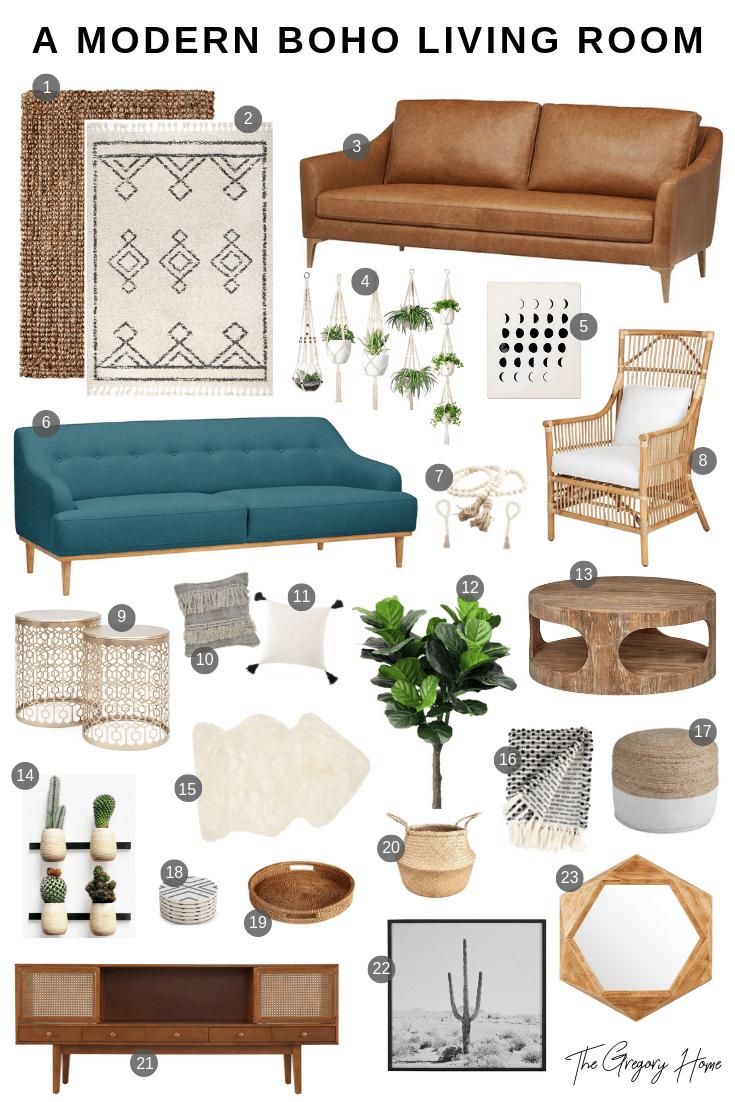 A Modern Boho Living Room - THE GREGORY HOME