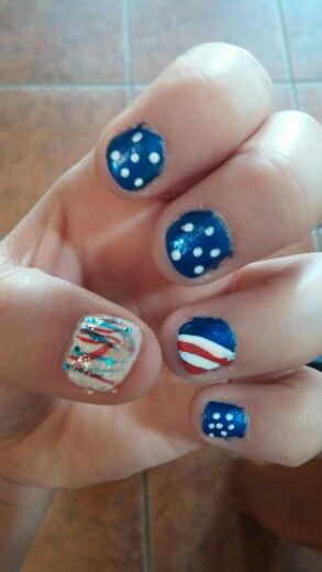 Did my nails today ! They turned out surprisingly well ! Now im 4th of July ready!