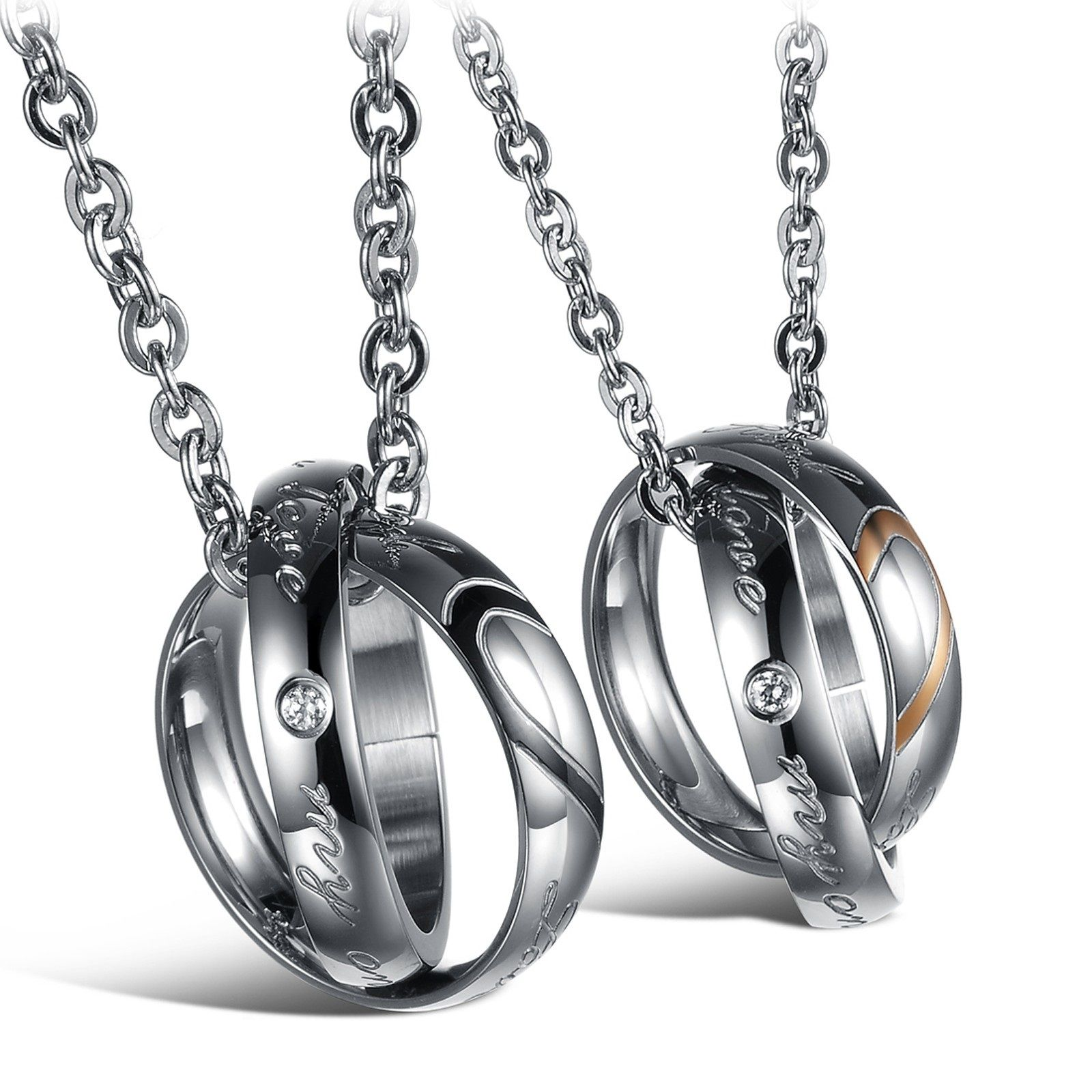 His & Hers Stainless Steel Matching Couples Necklace Pendant Sets ...