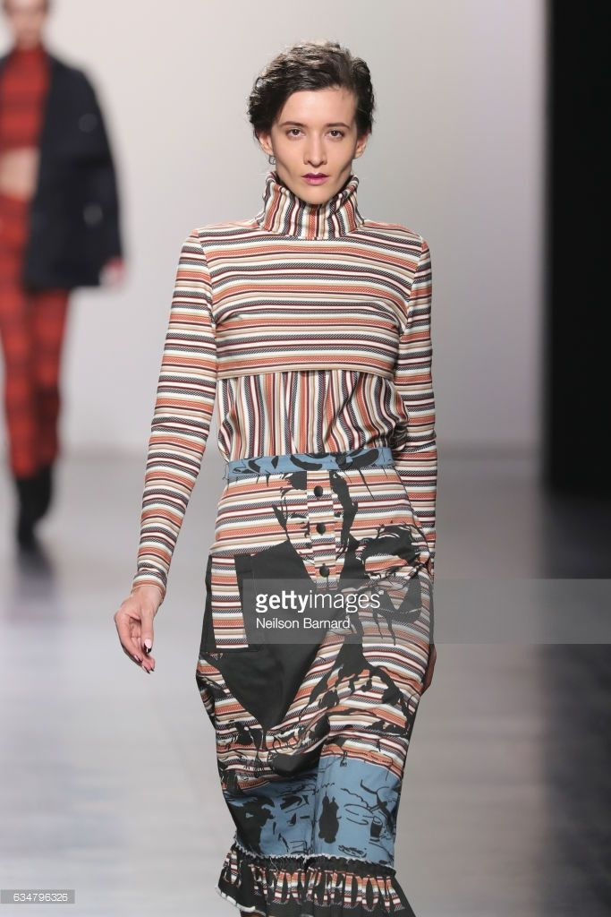Katya Tolstova walks the runway for the Francesca Liberatore collection during, New York Fashion Week: The Shows at Gallery 1, Skylight Clarkson Sq on February 11, 2017 in New York City.