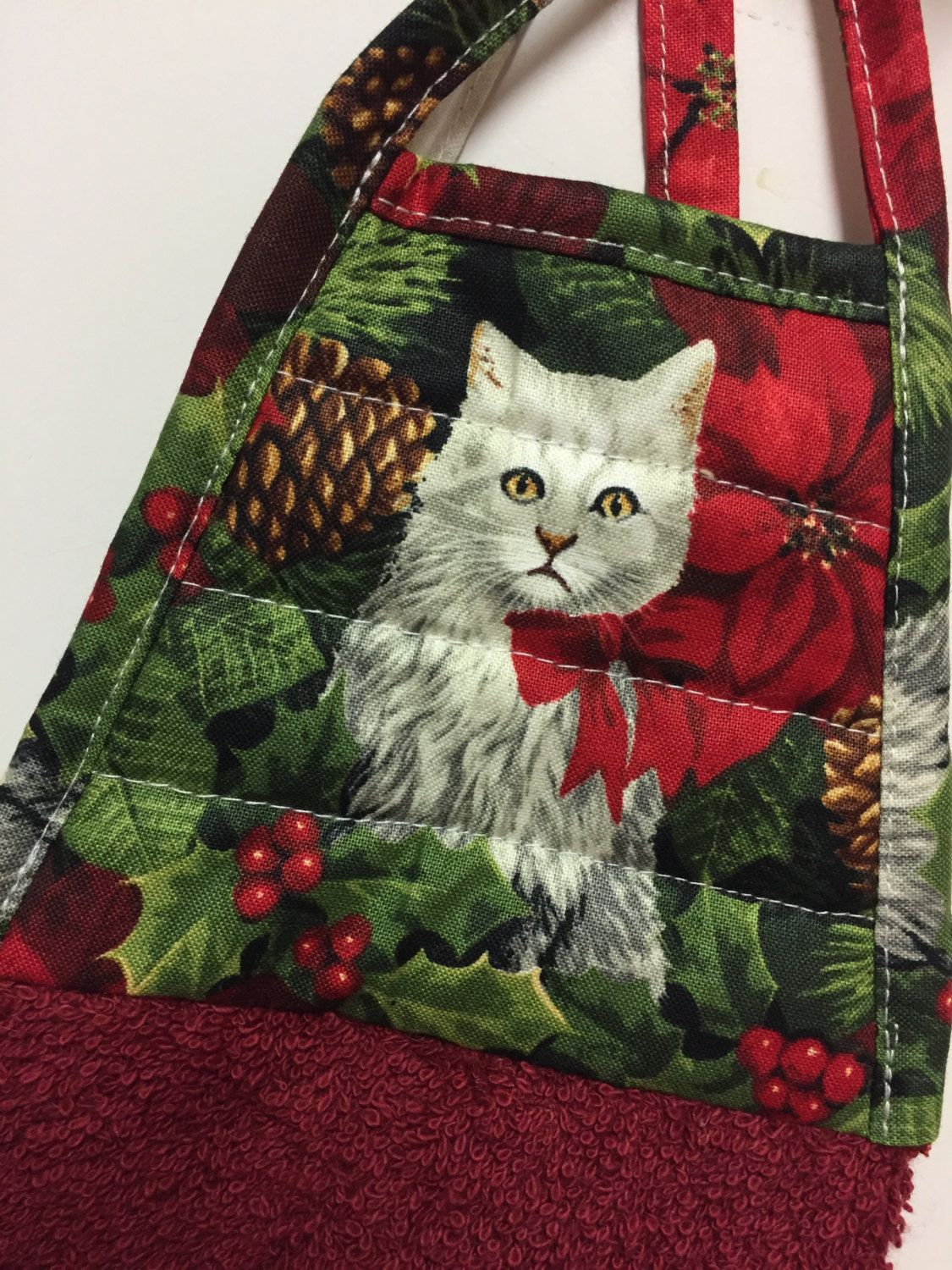 Chistmas Kitty Towel Cat Kitchen Towel Cat Hanging Tie Towel