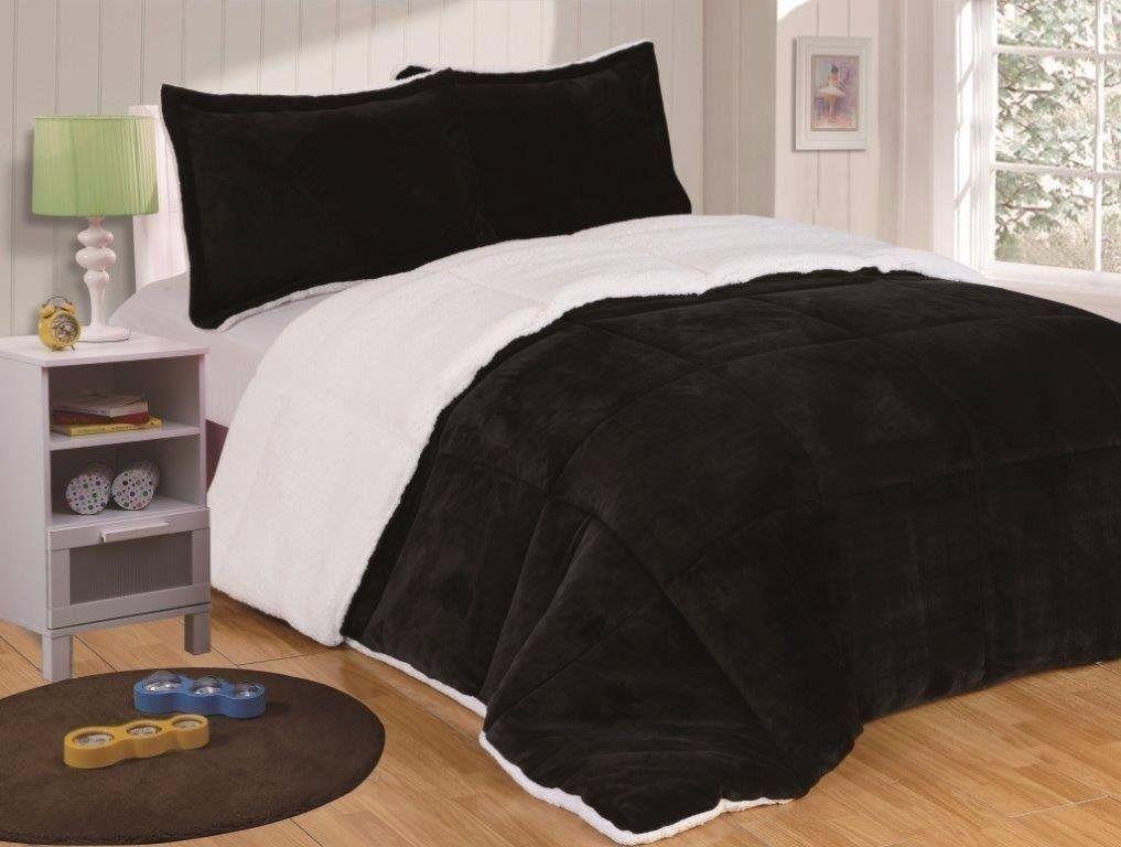Chezmoi Collection 3Pc Micro-Mink Sherpa Down Alternative Comforter Queen, Black