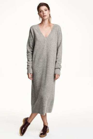 Pull long en laine   H M   robe pull   Grey sweater dress, Sweaters ... cdf2588248f1