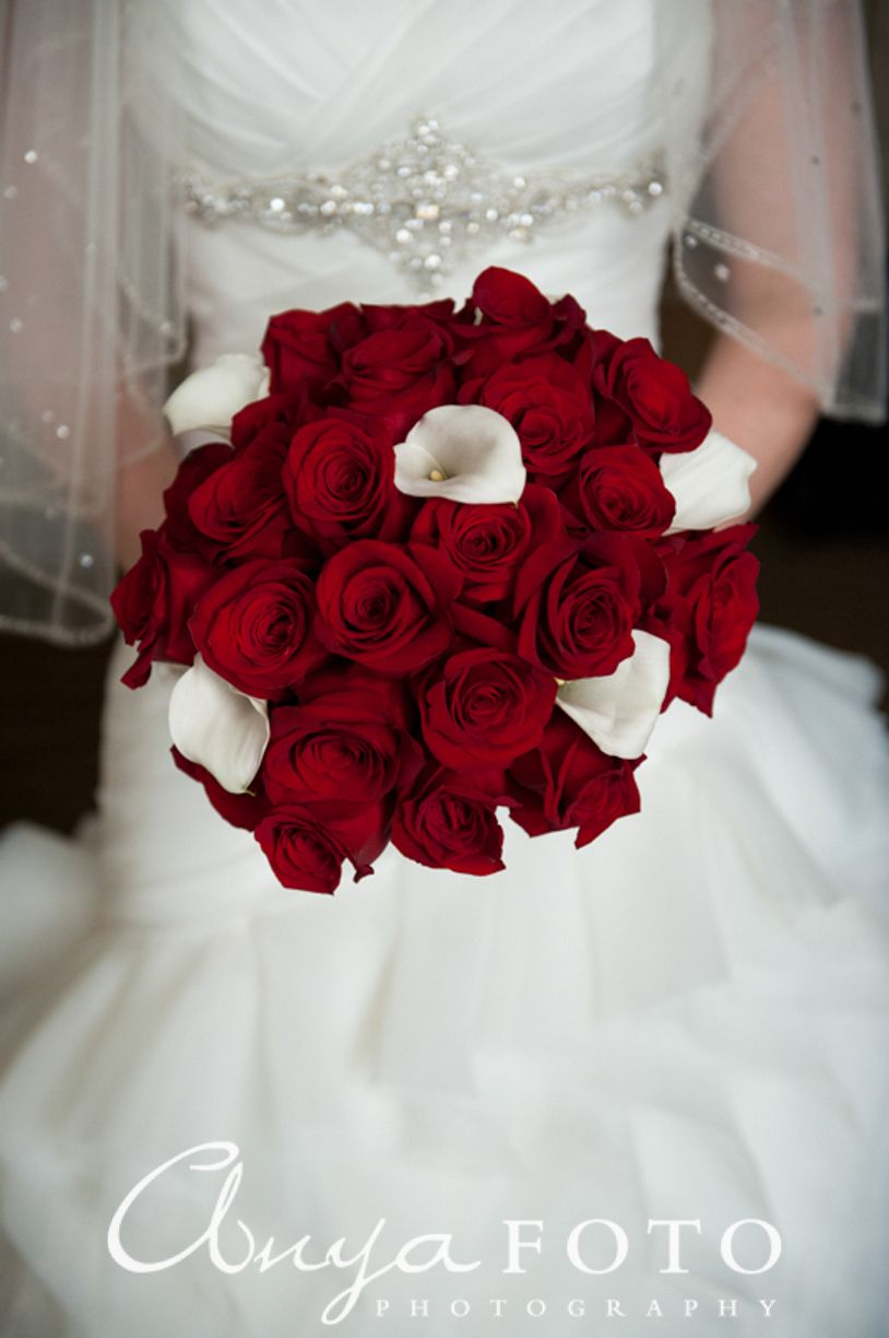 beautiful wedding bouquet red roses and white lilies white