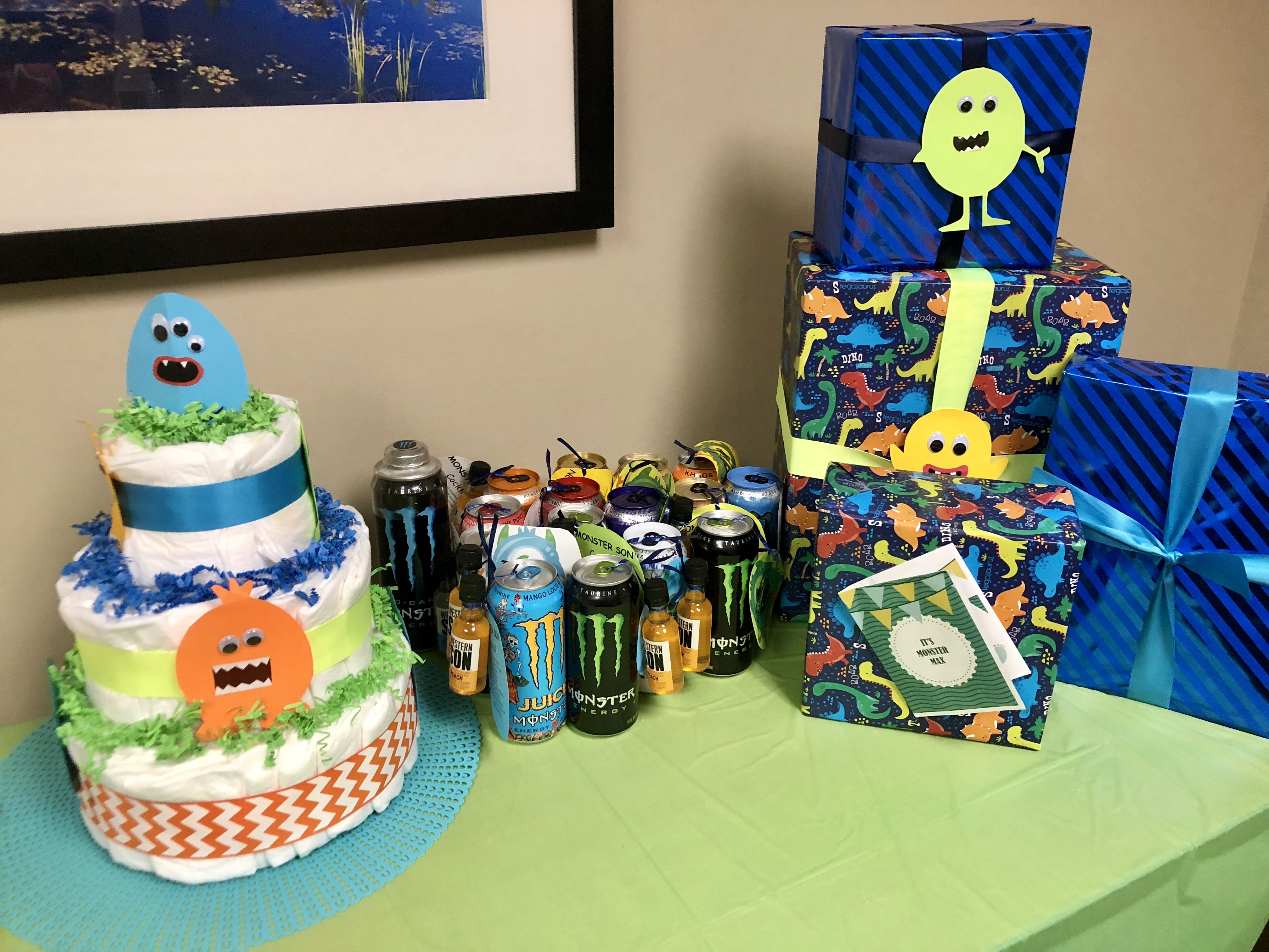 Mommys Little Monster Baby Shower Party Favors, Gifts, Cake
