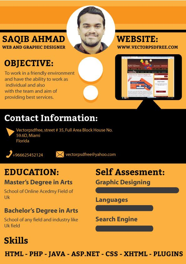 Free CV Template for Graphic and Web Designers by saqib ahmad, via - resume website design