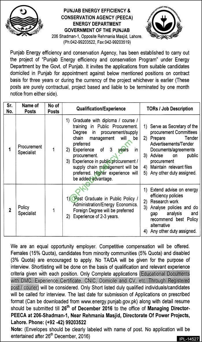 Punjab Energy Department Peeca December  Jobs Application Form