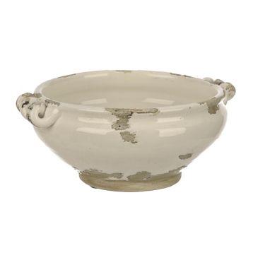 distressed white ceramic decorative bowl family room redo white rh pinterest com