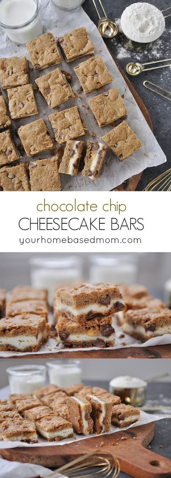 Chocolate Chip Cheesecake Bars Recipe - These are the perfect combo of two of your favorite treats.