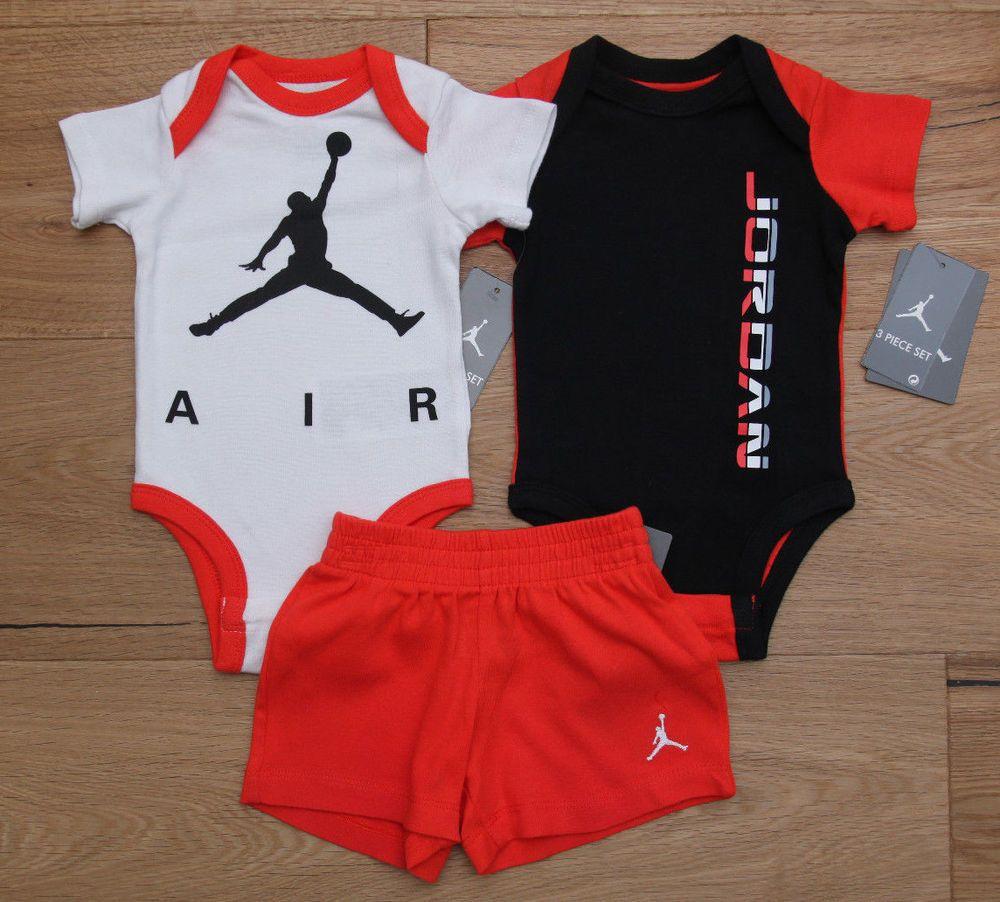 online store e3652 23547 Air Jordan Baby Boy 2 Bodysuits   Shorts Set ~ Black, White, Orange   Gray  ~  Jordan  BabyBoy  Jumpman