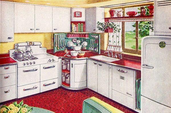 pin by j e hart on vintage interiors kitchens 1940s kitchen rh pinterest com