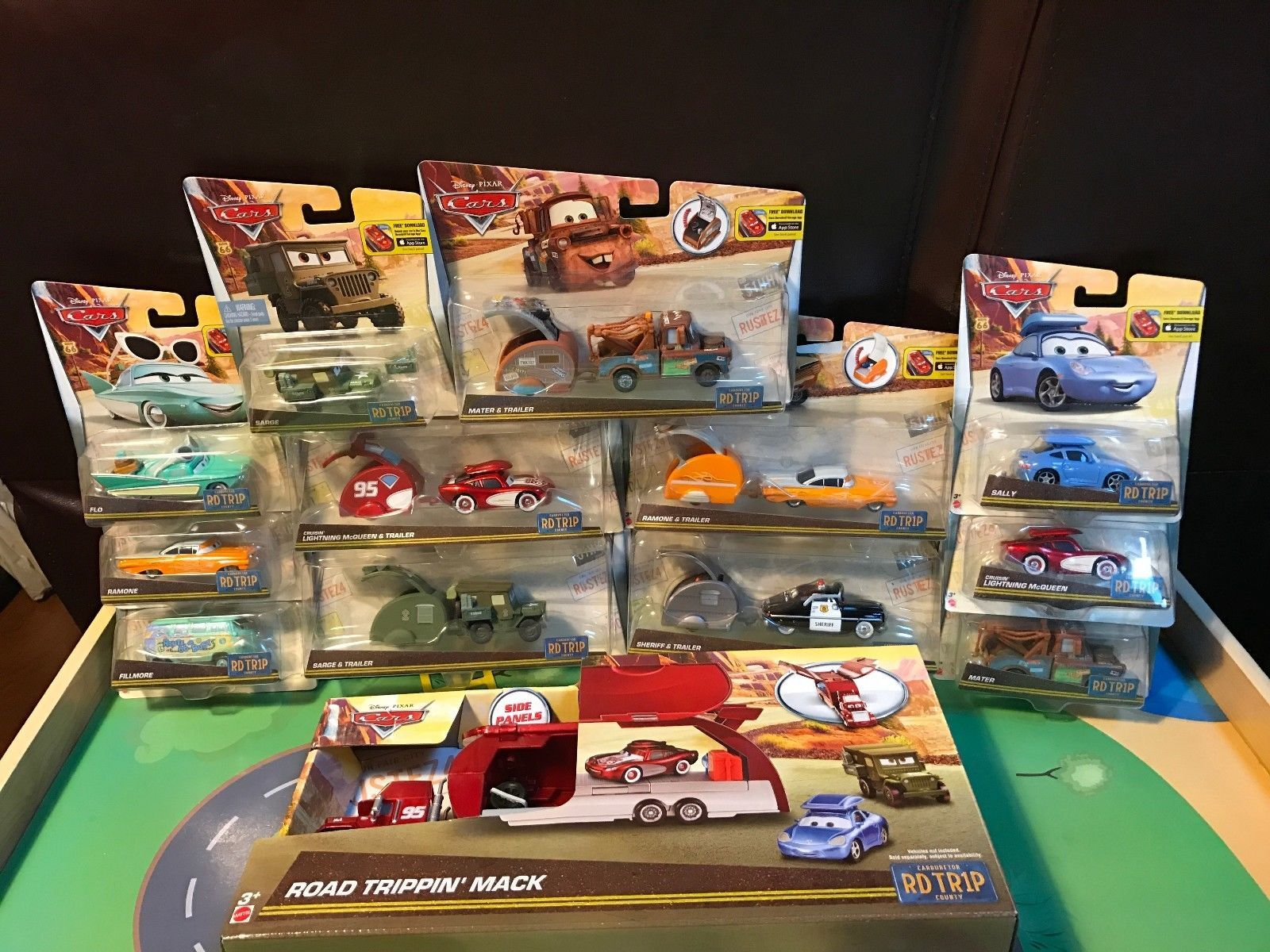 New Disney Pixar Cars Diecast Road Trip Series Complete Set Mack