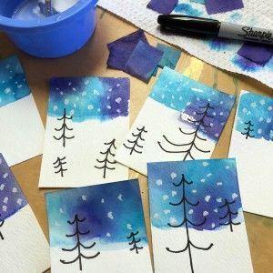 This was such a fun discovery today. Turns out if you cut blue and purple Pacon Tissue Paper into small squares, and apply them with water to watercolor paper, they leave behind the most amazing swirl