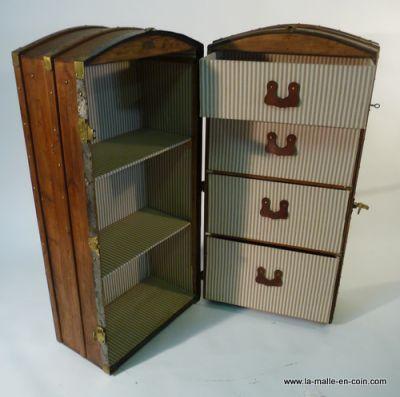Malle Wardrobe ( malle armoire ) avec tiroirs et etageres Wardrobe - meuble de rangement avec tiroir