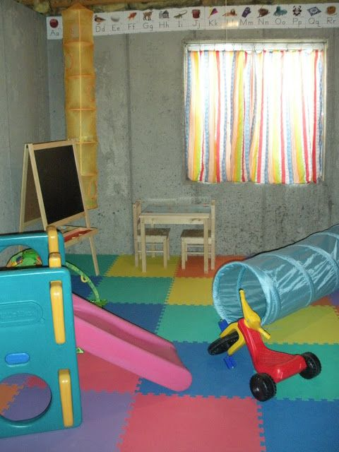 Unfinished Basement Playroom Foam Squares For The Floor