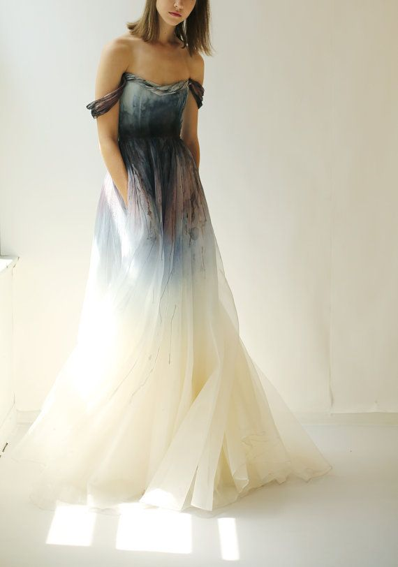 SALE hand-painted and dyed silk organza gown | Possibilities ...