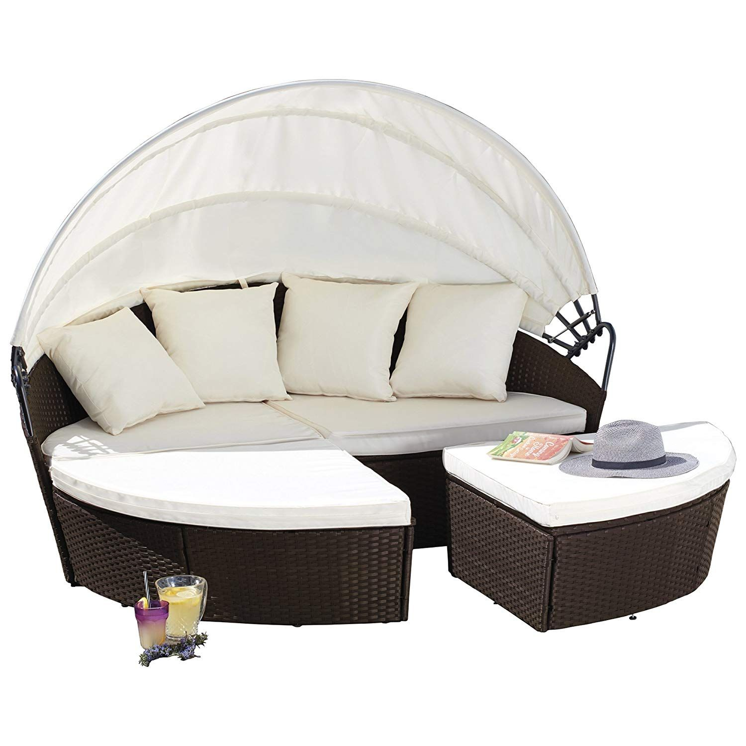 Garden gear rattan daybed outdoor furniture set extendable canopy cushions included 3 piece medium 160cm brown amazon co uk garden outdoors