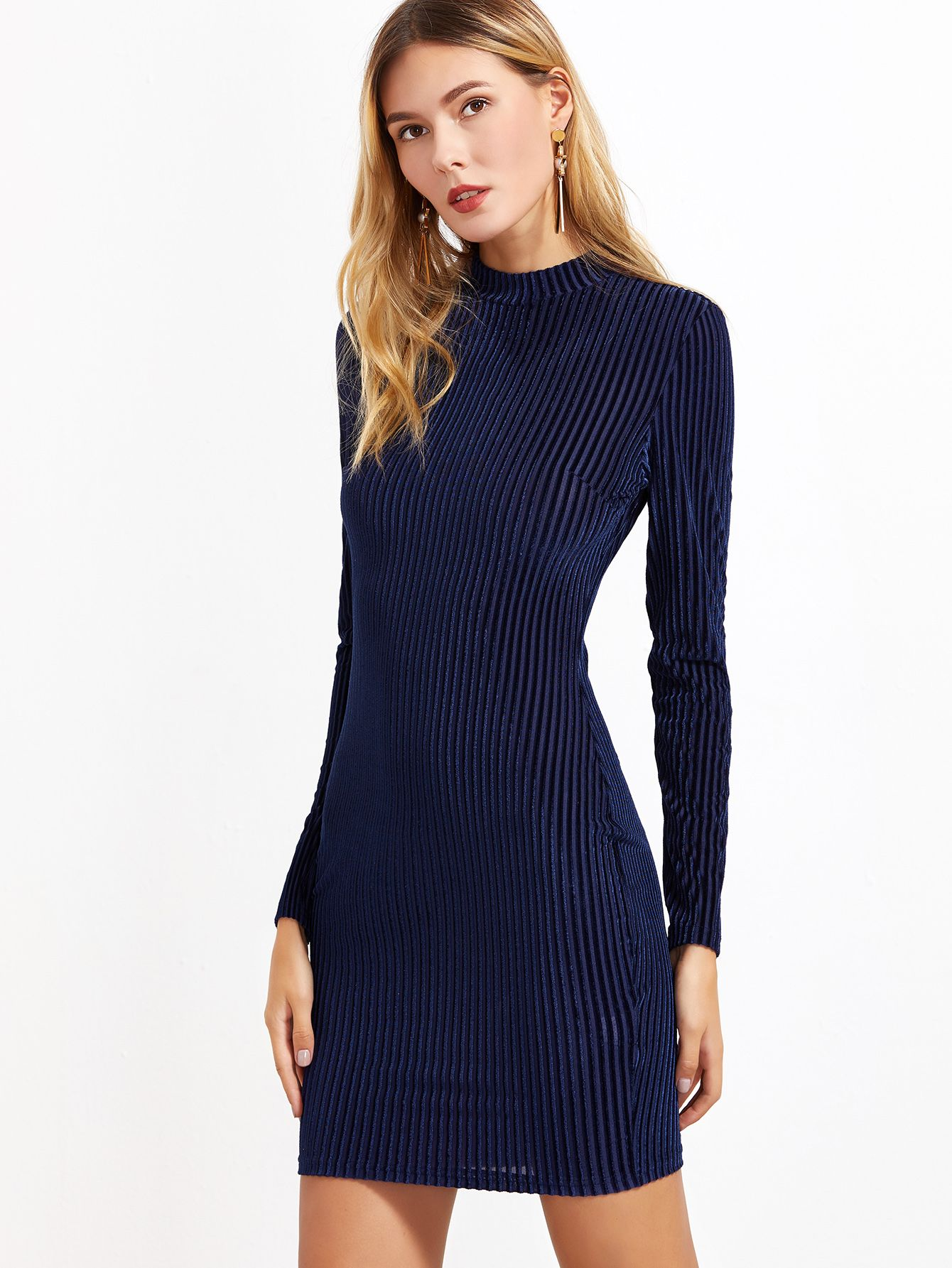 2cdd0cf464 Shop Navy Mock Neck Striped Velvet Bodycon Dress online. SheIn offers Navy  Mock Neck Striped Velvet Bodycon Dress & more to fit your fashionable needs.