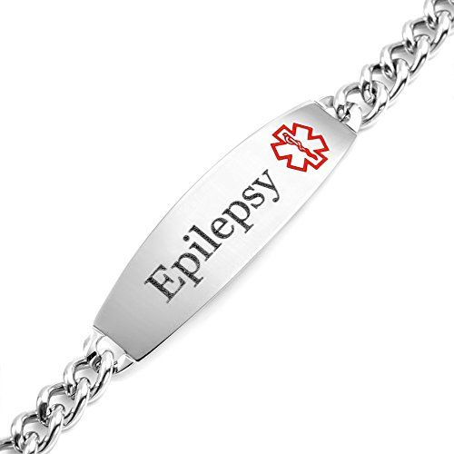 Epileptic Medical ID Alert Bracelet - Stainless Steel - One size fits all - Totally Adjustable oRsNUdq