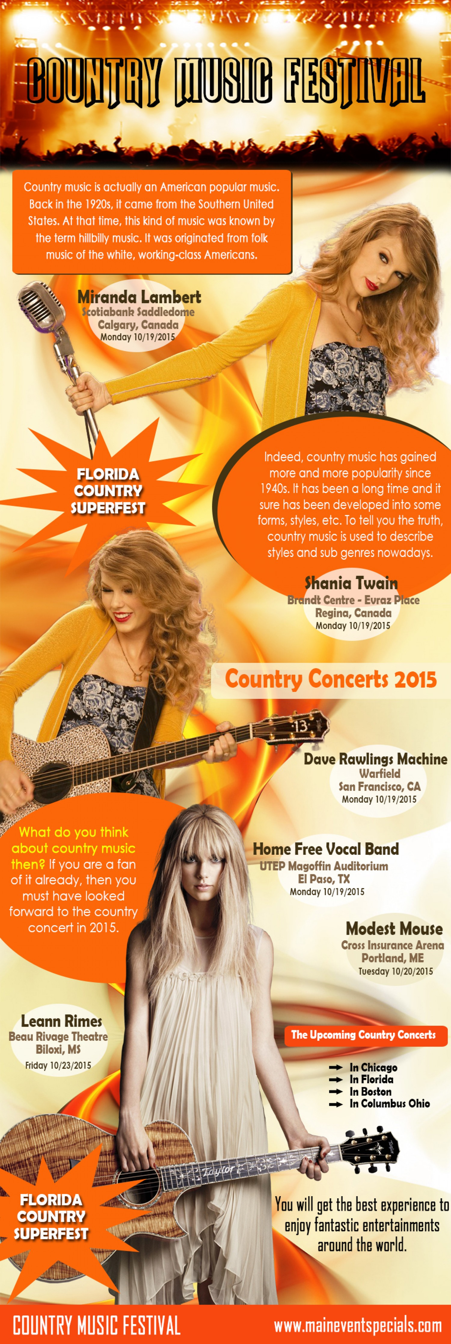 Browse this site http://maineventspecials.com/country-music-concert-tickets/ for more information on Country Music Festival. Considering how far country music has grown, it is no wonder for country concert to be so high in demand just everywhere. In 2013 for example, there was County Music All Star (CMA) Concert in Nashville TN. There is annual 3-day summer festival in Fort Loramie.