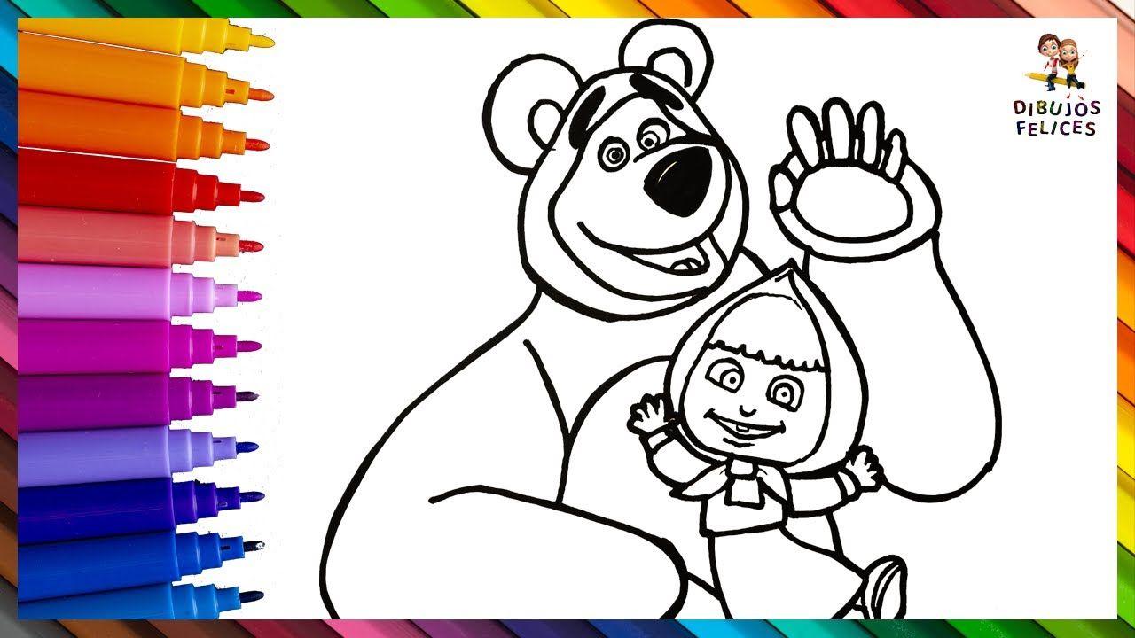 Como Dibujar Y Colorear A Masha Y El Oso Dibujos Para Ninos Dibujos Para Ninos Dibujos De Osos Masha Y El Oso