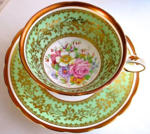 Grosvenor Vintage Pastel Green Summer Flowers Bone China Cup & Saucer 1950s