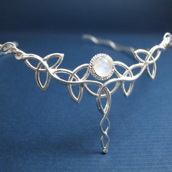 Celtic Sterling Silver Wedding Circlet Headpiece Diadem with 10mm Rainbow Moonstone, Handmade, Celtic Wedding on Etsy, $245.00
