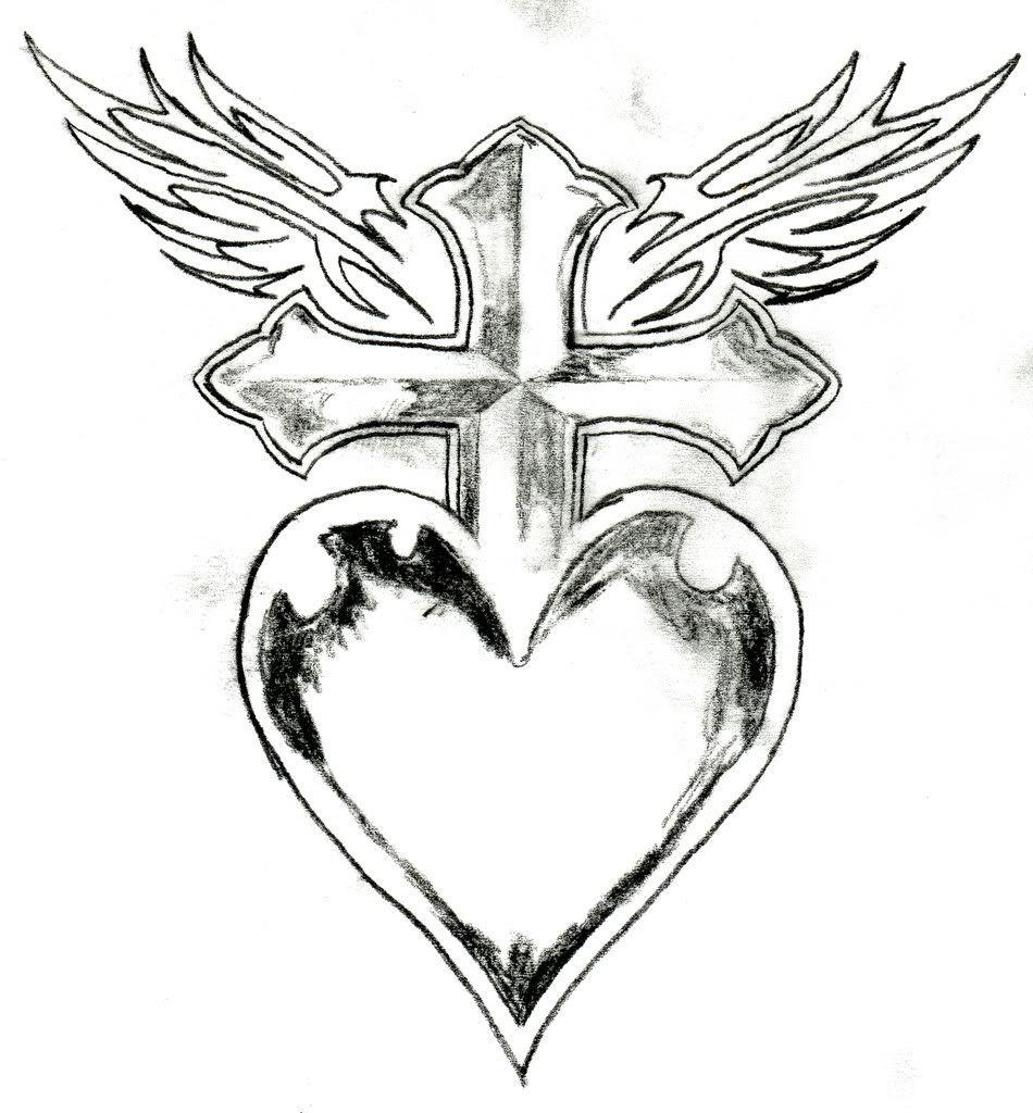 Cross Heart Wings Dibujos De Corazones Corazones Para Pintar