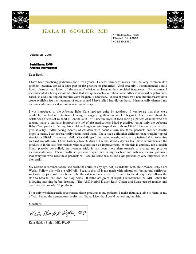 Arbonne Abc Recommendation Letter Dr Sigler By Liz Via Slideshare