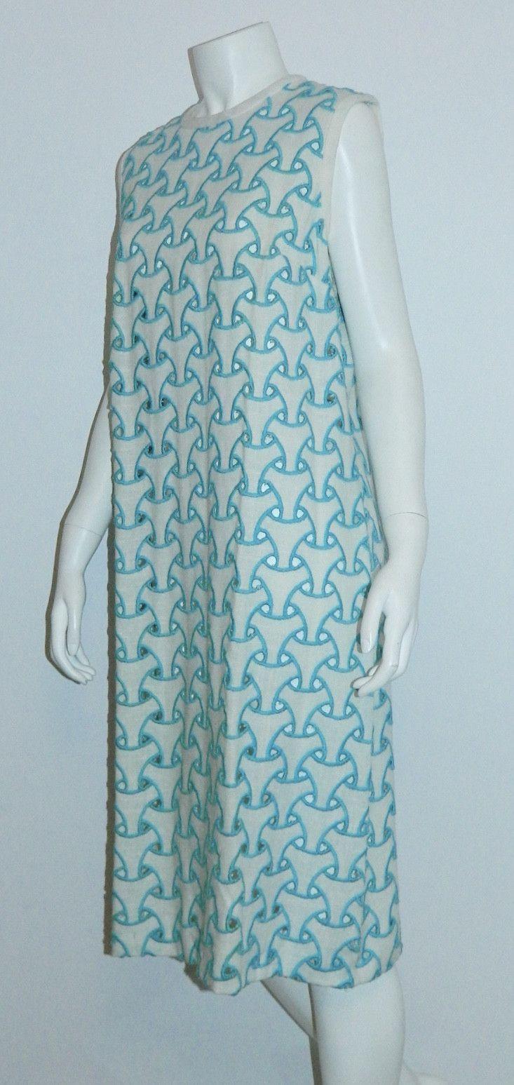 MOD vintage 1960s cut out dress L'Aiglon white sleeveless sheath / trompe l'oeil embroidery