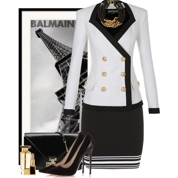 A fashion look from January 2015 featuring Balmain blazers, Balmain mini skirts and Jimmy Choo pumps. Browse and shop related looks.