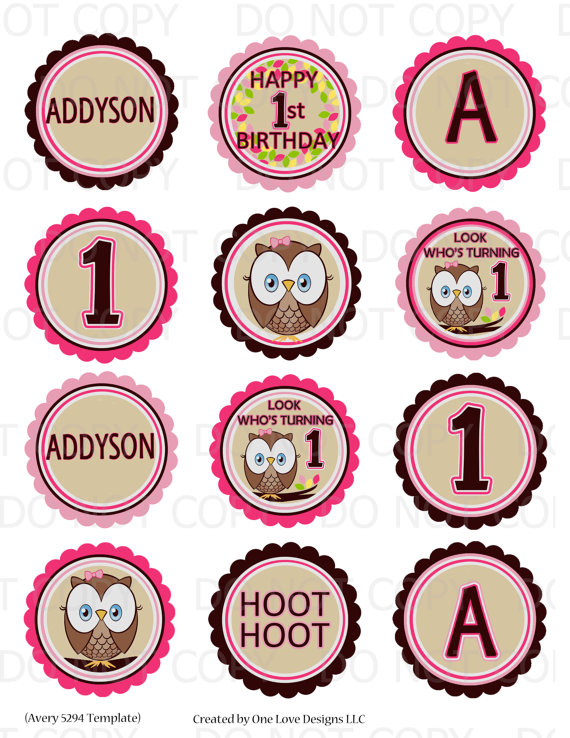 Printable Personalized Owl First Birthday Theme 25\