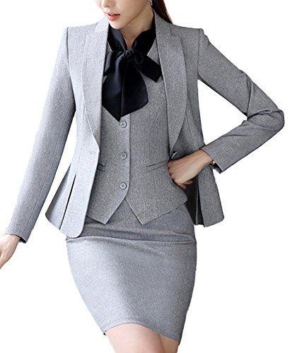 SK Studio Womens 4 Piece Business Skirt Jacket Pants Dress Set Suits Grey 4  **