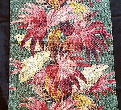 Vintage Tropical Barkcloth Drape Fabric #3