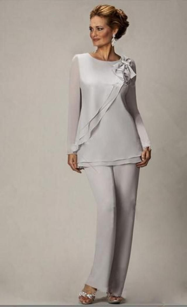 2015 New Silver Sexy Two Piece Chiffon Mother of the Bride Pants ...