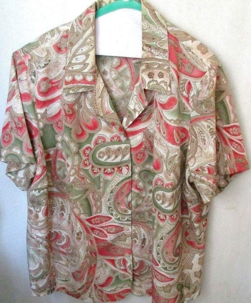 Womens 20W Alfred Dunner Short Sleeve Blouse Top Polyester Summer Shoulder Pads #AlfredDunner #Blouse #Casual