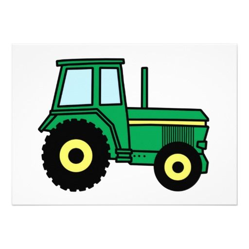 old pick up cartoon free   | Cartoon Clip Art Green Farmer Tractor Truck Personalized Invites from ...