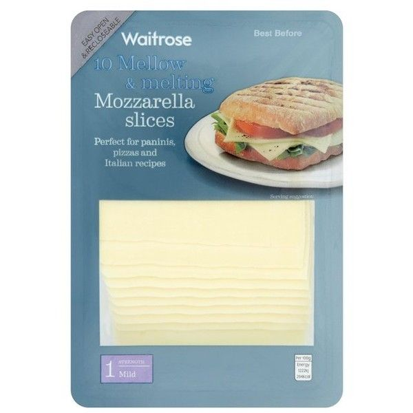 Waitrose Mozzarella 10 Cheese Slices 250g (12 BRL) ❤ liked on Polyvore featuring home and kitchen & dining