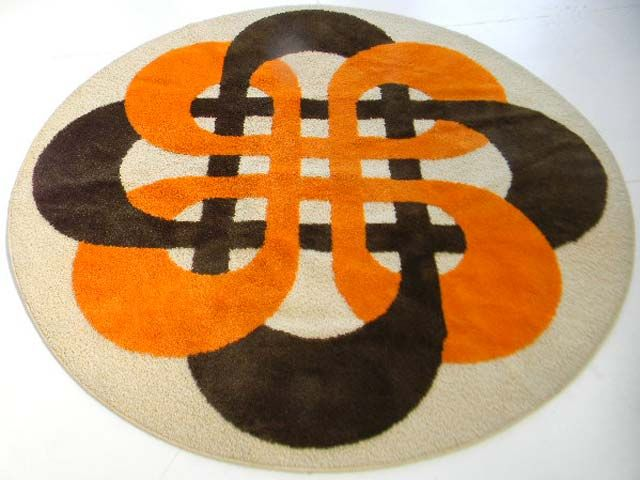 Vtg Mid Century Modern Panton Eames Op Art Yellow Green Brown 60s 70s Round Rug Rugs And