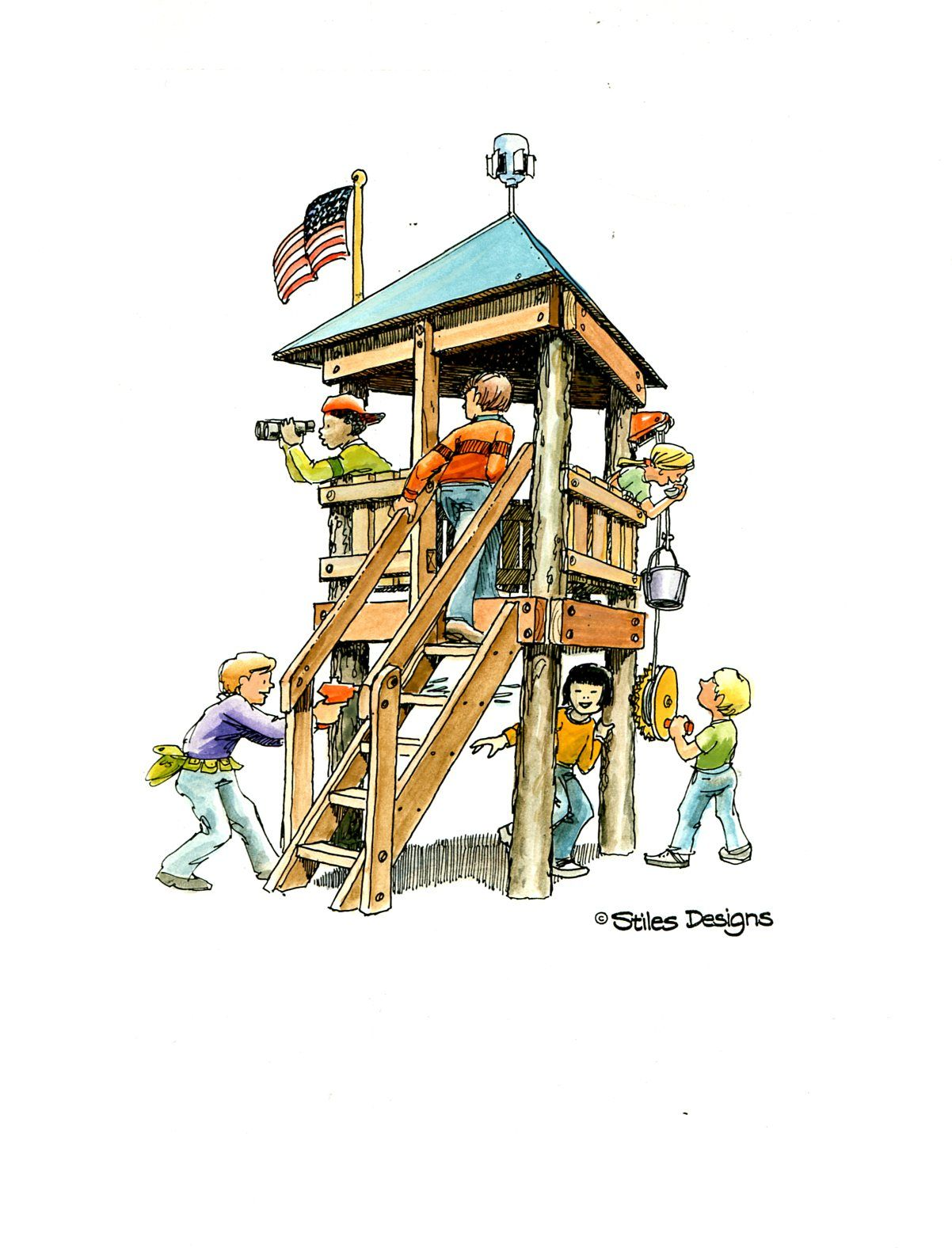How to build an indoor tree house play loft and drill into the studs - Easy To Build Plans For This Fun 3 Legged Treehouse Fort Now Available To