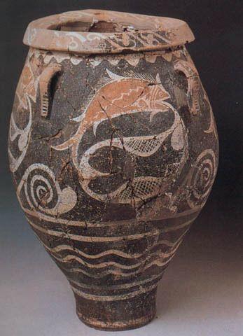 Céramique de Camarés, Héraklion, style présent surtout Cnossos et Phaistos, finesse parois par le tour rapide, motif de poisson.