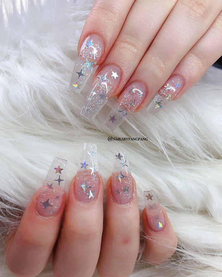 Individual Glitter Star Set 40 Nailsbypangpang Brockley Ombrenails Glitternailsdesign Londonnails Acrylicna Nails Christmas Nails Acrylic London Nails