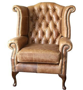 Charming Hand Crafted Brown Leather Fireside Armchair