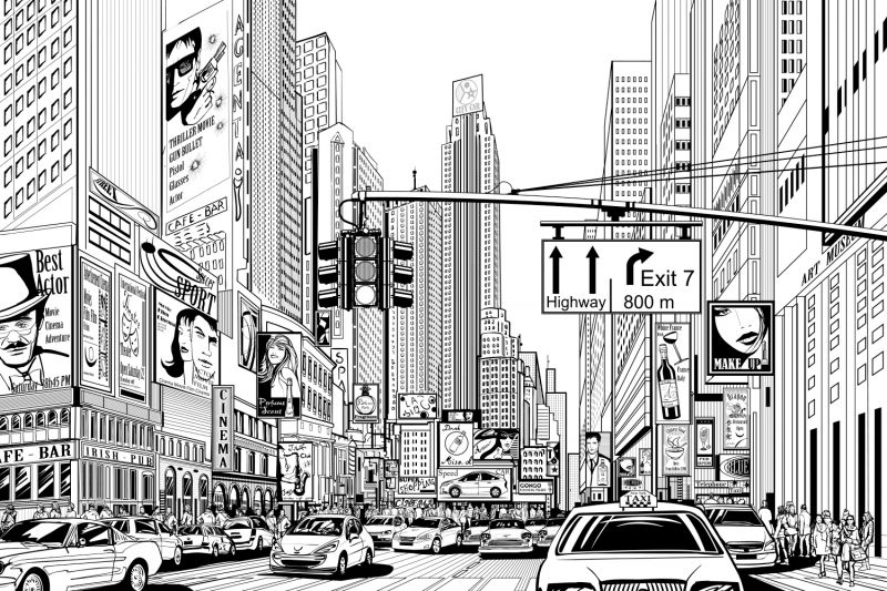 Black White New York Wallpaper Illustrated Design Muralswallpaper New York Hintergrundbild Stadt Zeichnung Landschaft