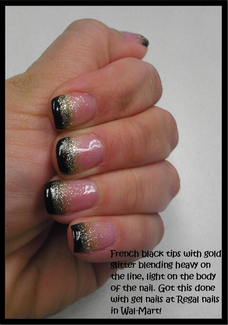 Black french tips with gold glitter blending done with gel nails at ...