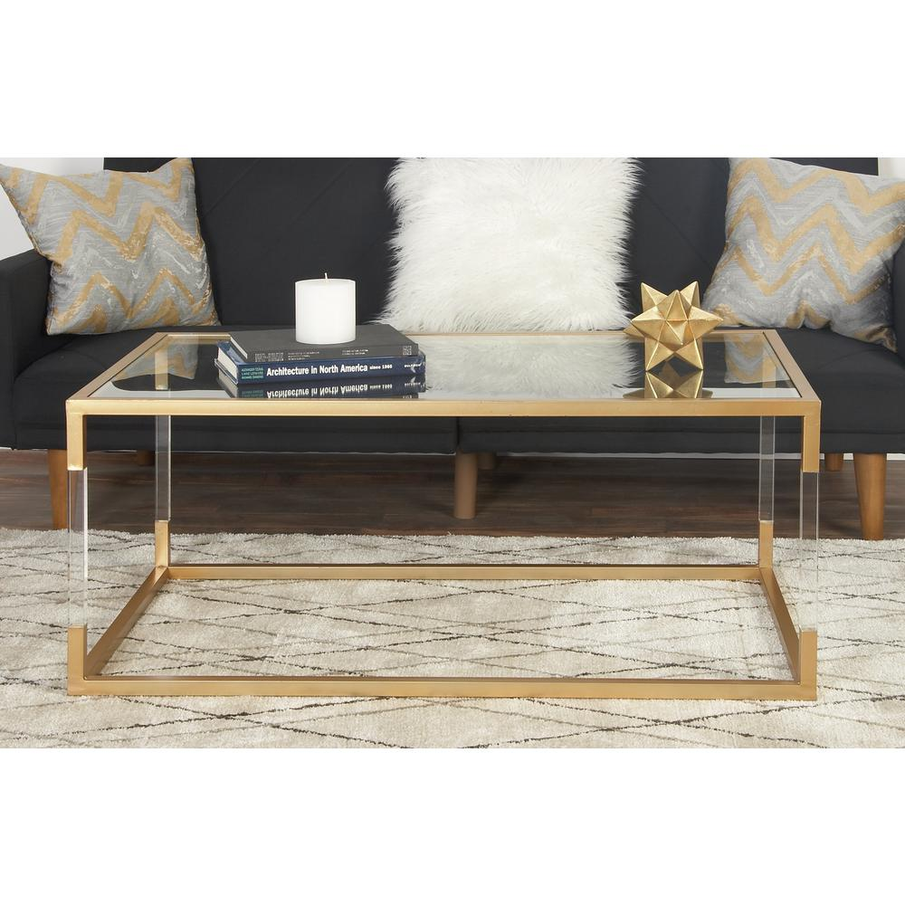Litton Lane 46 In Gold Metallic Large Rectangle Glass Coffee Table With Storage 56933 The Home Depot Acrylic Coffee Table Metal Living Room Gold Coffee Table Cheap gold coffee table