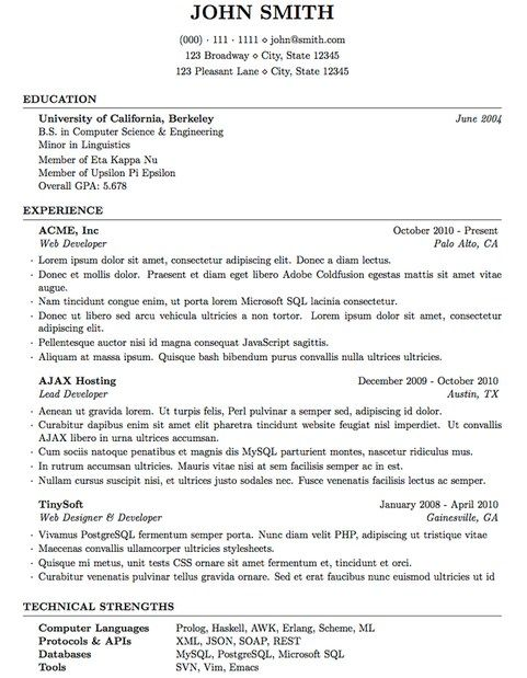 Best Latex Resume Template | Latex Resume Template | Pinterest ...
