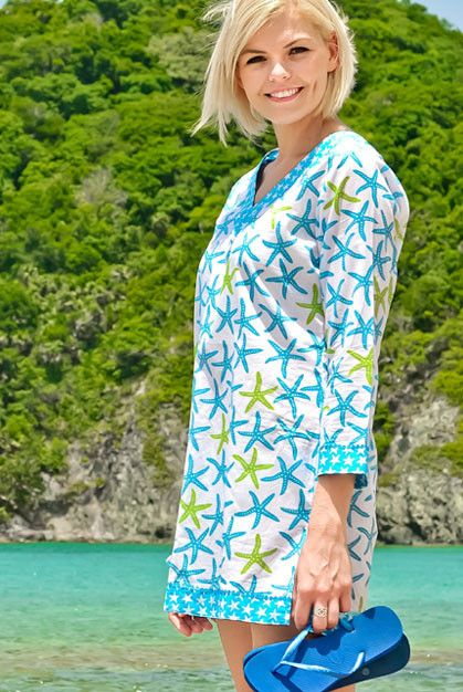 ecb9d882520 Tide Pool Cotton Beach Tunic Cover up with sequins KV323 | My Style